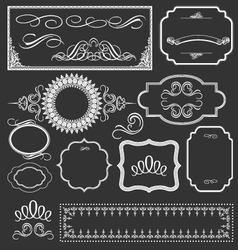 Vintage floral decorative border frames elements vector image