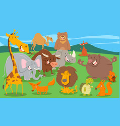 Wild animal characters group in wild vector