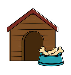 wooden house pet with dish bones vector image