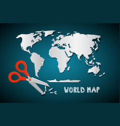 world map with scissors paper cut design vector image