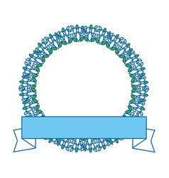 Wreath leafs crown with ribbon vector
