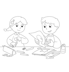 Children creativity with paper and glue vector image