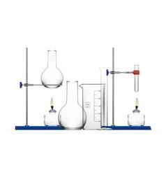 Realistic chemical laboratory equipment set glass vector