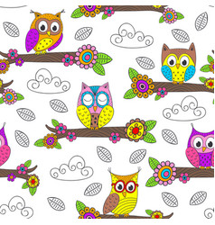 seamless pattern with funny owl on branch vector image vector image