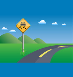 slippery road sigh vector image
