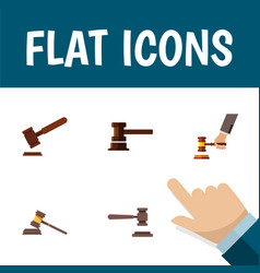 flat icon hammer set of crime court justice and vector image