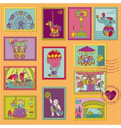 Funny Circus Postage Stamps vector image vector image