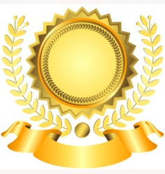 golden award with ribbon vector image vector image