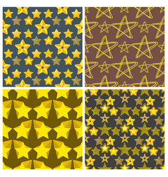seamless pattern shape silhouette shiny star vector image vector image