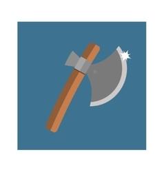 Wooden axe cartoon flat icon of handle wood work vector image vector image
