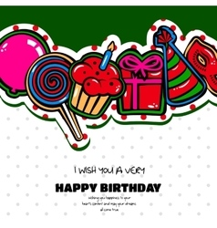 Birthday card with items balloon cake hat vector image vector image