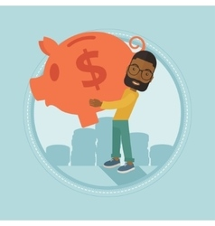 Businessman carrying big piggy bank vector