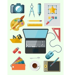 Designer workplace icons vector image