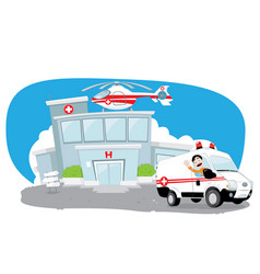 hospital with helicopter on its roof and ambulance vector image vector image