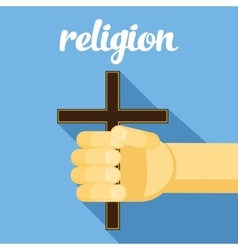 religion cross in hand faith vector image