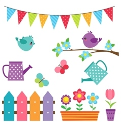 Set of birds and flowers vector image vector image