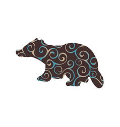 badger mammal color silhouette animal vector image