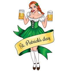 beer girl lines vector image vector image