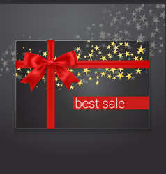 best sale card with red silk bow and golden stars vector image vector image