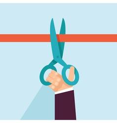 concept in flat retro style - hand holding scissor vector image