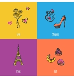 France National Symbols Icons Set vector image vector image