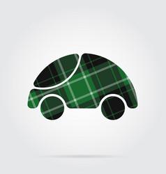green black tartan icon - cute rounded car vector image vector image