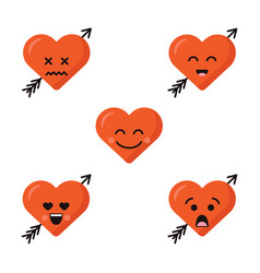 set of different flat cute emoji heart faces with vector image
