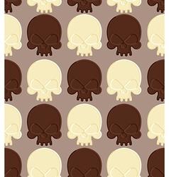 Skull white and dark chocolate seamless pattern vector image vector image