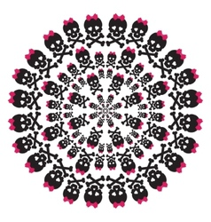 Skull with a pink bow on white background Circular vector image vector image