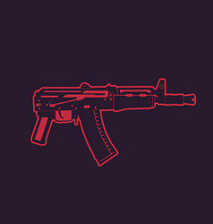 soviet automatic carbine shortened assault rifle vector image vector image