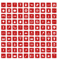 100 barbecue icons set grunge red vector