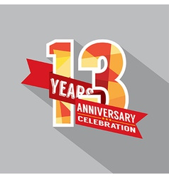 13th Years Anniversary Celebration Design vector