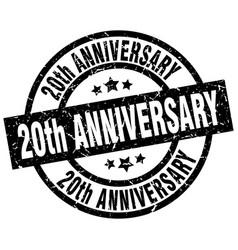 20th anniversary round grunge black stamp vector image