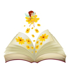 A book with a fairy and flowers vector image