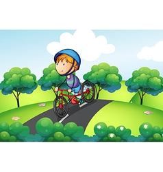 A boy riding in his bike vector image