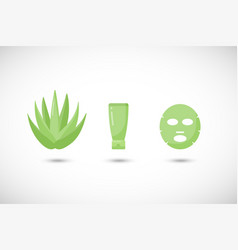 aloe vera facial mask flat icons set vector image
