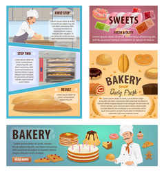 Bakery and patisserie baking process posters vector