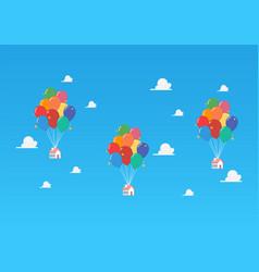 Balloon houses on blue sky vector