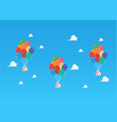 balloon houses on blue sky vector image