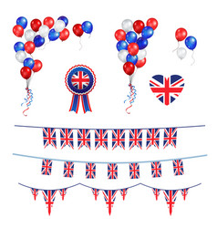 Balloons and union jack flag vector