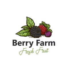 Berry farm logo design fresh product vector