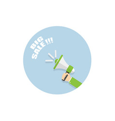 big sale bullhorn in hand on white background vector image