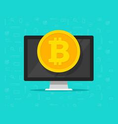 bitcoin coin on computer flat vector image