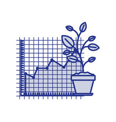 Blue silhouette of growing and financial risk vector