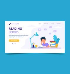 boy reading a book landing page concept vector image