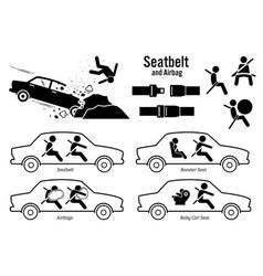 Car seat belt and airbag artworks depict vector