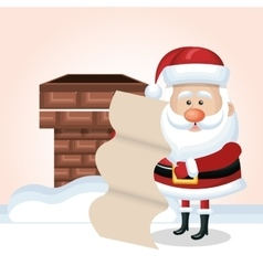 Cartoon santa claus with list and chimney snow vector