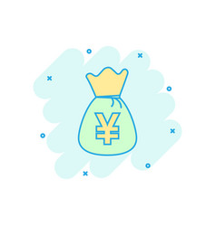 Cartoon yen yuan bag money currency icon in comic vector