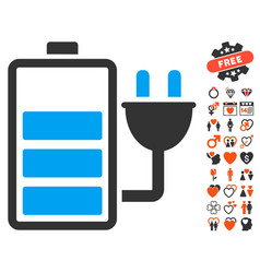 charge battery icon with dating bonus vector image