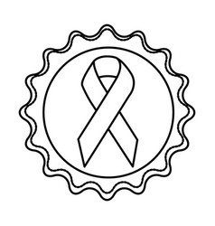 circular label with breast cancer symbol vector image